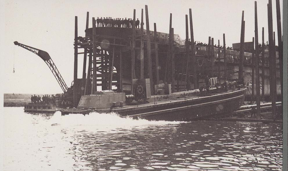 Unidentified X lighter being launched from the Harbour Yard, Irvine's, West Hartlepool, photo Bert Spaldin. X30 to X35