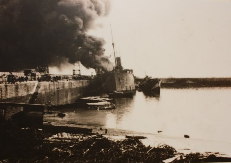 HMS Sandhurst burning at Dover in 1940