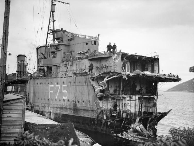HMS Eskimo BowTorpedo Damage in May 1940